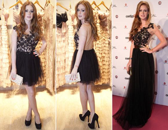 Duas versões do mesmo vestido: curto e longo