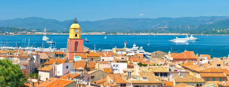 Beautiful view of Saint-Tropez, France with seascape and blue sky