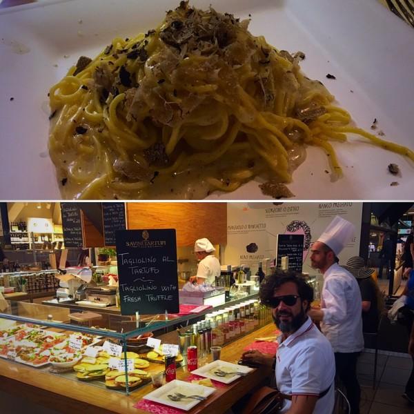O mercado central de Florença é um lugar da boa gastronomia Toscana e vale sua visita. Escolhemos entre todas as opções o Il Tartufo Luciano Savini e não nos arrependemos. Vale a pena experimentar a cerveja trufada.